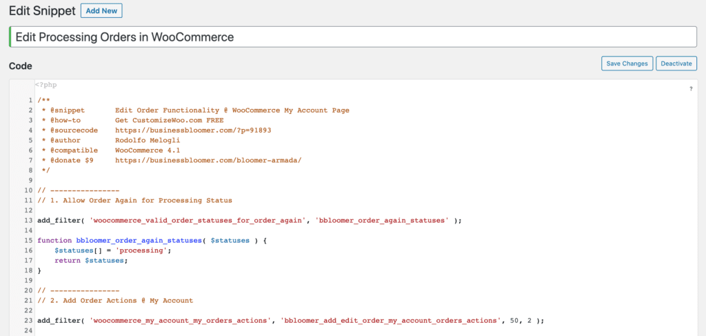 Add Edit Processing Orders in WooCommerce Code to Snippet